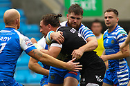 Andrew Dixon of  Toronto Wolfpack on the attack against Halifax RLFC during the Betfred Super 8s Qualifiers match at Shay Stadium, Halifax<br /> Picture by Stephen Gaunt/Focus Images Ltd +447904 833202<br /> 12/08/2018