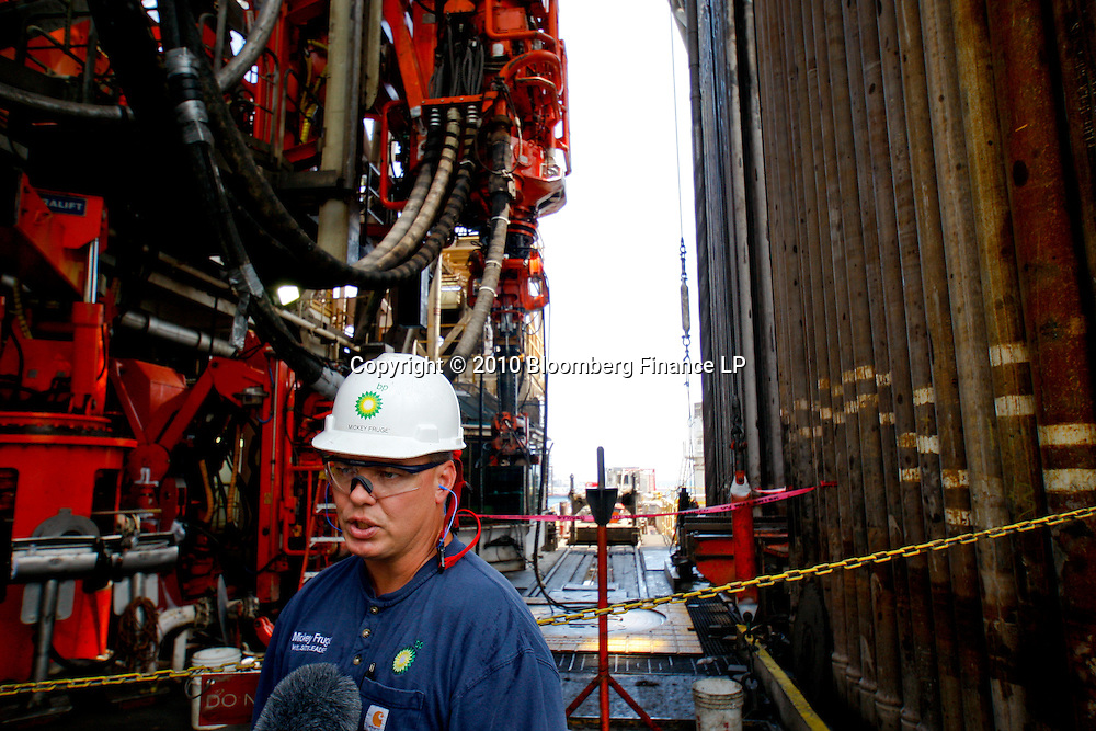 BP Plc well site leader Mickey Fruge talks to reporters on the drill floor on board the Transocean Development Driller II rig leased by BP Plc which is drilling a backup relief well at the BP Plc Macondo well site in the Gulf of Mexico off the coast of Louisiana, U.S., on Saturday, August 7, 2010. BP successfully used the 'static kill', procedure  pumping mud into the top of the damaged well, BP plans now to finish a relief well to permanently plug the well by mid-August. Photographer: Derick E. Hingle/Bloomberg