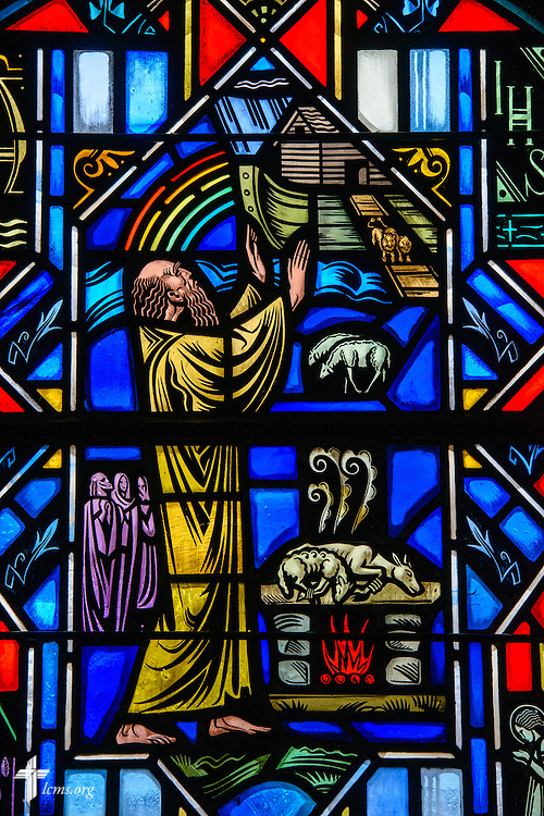 Stained glass at Luther Memorial Chapel depicts the flood, Genesis 7, on Friday, Jan. 29, 2016, in Shorewood, Wis. LCMS Communications/Erik M. Lunsford
