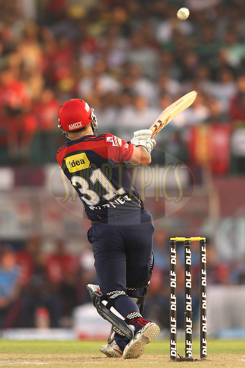 David Warner of the Delhi Daredevils pulls a delivery for six during match 69 of the the Indian Premier League ( IPL) 2012  between The Kings X1 Punjab and The Delhi Daredevils held at the HPCA Stadium, Dharamsala, on the 19th May 2012..Photo by Shaun Roy/IPL/SPORTZPICS