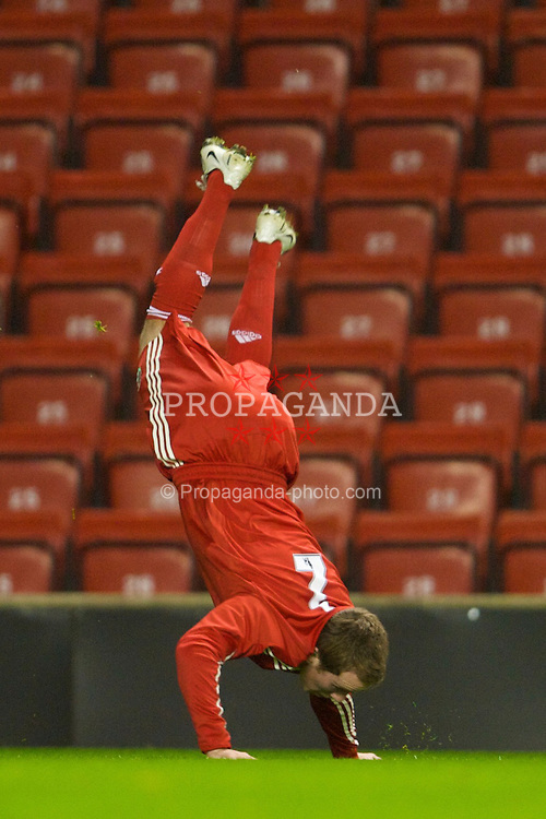 LIVERPOOL, ENGLAND - Friday, February 27, 2009: Liverpool's Steven Irwin celebrates scoring the third goal against Bolton Wanderers during the FA Youth Cup Quarter Final at Anfield. (Photo by David Rawcliffe/Propaganda)