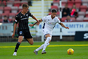 2nd Aug 2019, East End Park, Dunfermline, Fife, Scotland, Scottish Championship football, Dunfermline Athletic versus Dundee;  Declan McDaid of Dundee goes past Lewis McCann of Dunfermline Athletic