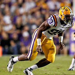 November 10, 2012; Baton Rouge, LA, USA;  LSU Tigers defensive end Sam Montgomery (99) against the Mississippi State Bulldogs during the first half of a game at Tiger Stadium.  Mandatory Credit: Derick E. Hingle-US PRESSWIRE