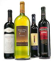 Bottles of wine on white background