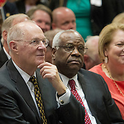 From left, Untied Stats Supreme Court Justices, Anthony Kennedy and Clarence Thomas listened to the Antonin Scalia Law School Dedication, at the Antonin Scalia School of Law, Arlington, VA, Thursday, October 6,, 2016.