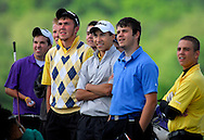 27 APRIL 2010 -- EUREKA, Mo. -- Seckman High School golfer Dylan Saxner (center) watches as other golfers tee off at the 10th tee for the start of Skeckman's match against Eureka High School at Aberdeen Golf Club in Eureka, Mo. Tuesday, April 27, 2010. Photo © copyright 2010 by Sid Hastings.