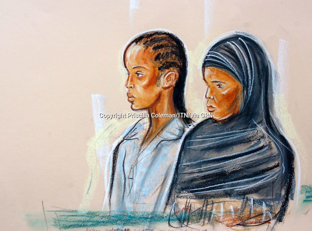 SUPPLIED BY ©PHOTONEWS SERVICELTD 10.08.05.© PRISCILLA COLEMAN ITV NEWS.DRAWING SHOWS LEFT MULUEMEBET GIRMA AND YESHSHI EMBERT GIRMA THE WIFE OF HUSSAIN OSMAN AT BOW ST MAGISTRATES LONDON.  THEY ARE CHARGED WITH A TERROR RELATED OFFENCE..SEE STORY