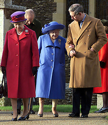 Royals in Sandringham..The Royal Family on Christmas Day at church in Sandringham, Norfolk. The Queen, the Queen Mother and Prince Charles leaving after the service 2000. Photo by Andrew Parsons/i-Images.Queen Mother at Sandringham attending church service on Christmas Day 2000. Photo by Andrew Parsons/i-Images.Queen, Queen Mother and Prince Charles at Sandringham attending church service on Christmas Day 2000. Photo by Andrew Parsons/i-Images.