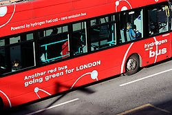 UK ENGLAND LONDON 21JUL15 - Red double-decker Hydrogen buses arrive in London Bridge at the start of a working day in London.<br /> <br /> <br /> <br /> jre/Photo by Jiri Rezac / Greenpeace<br /> <br /> <br /> <br /> © Jiri Rezac 2015
