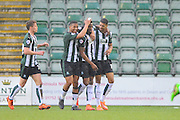 Plymouth Argyle's Jamille Matt celebrates scoring the opening goal to give the home team a 1-0 lead during the Sky Bet League 2 match between Plymouth Argyle and York City at Home Park, Plymouth, England on 28 March 2016. Photo by Graham Hunt.