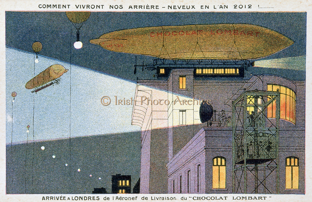 Early 20th century trade card imagining fashionable travel in 2012.  Arriving in London from Paris, landing on top of a building and alighting from the Chocolat Lombard airship.  Flying Aviation Aeronautics