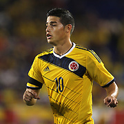 James Rodriguez, Colombia, in action during the Colombia Vs Canada friendly international football match at Red Bull Arena, Harrison, New Jersey. USA. 14th October 2014. Photo Tim Clayton