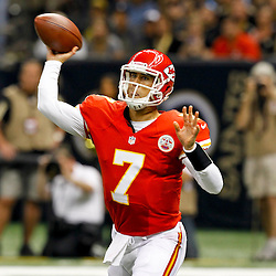 September 23, 2012; New Orleans, LA, USA; Kansas City Chiefs quarterback Matt Cassel (7) against the New Orleans Saints during the first quarter of a game at the Mercedes-Benz Superdome. Mandatory Credit: Derick E. Hingle-US PRESSWIRE