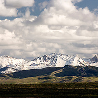 fresh snow on the badger two medicine  mountains from the blackfeet reservation, montana, usa badger two medicine area of the rocky mountain front, montana, rocky mountains
