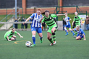 Brighton's Jade Widdows and Forest Green's Sophie Okey battle for the ball during the FA Women's Premier League match between Forest Green Rovers Ladies and Brighton Ladies at the Hartpury College, United Kingdom on 24 January 2016. Photo by Shane Healey.