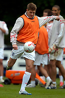 Photo: Richard Lane.<br />England Training Session. 22/05/2006.<br />Steven Gerrard does some shooting practice during training.