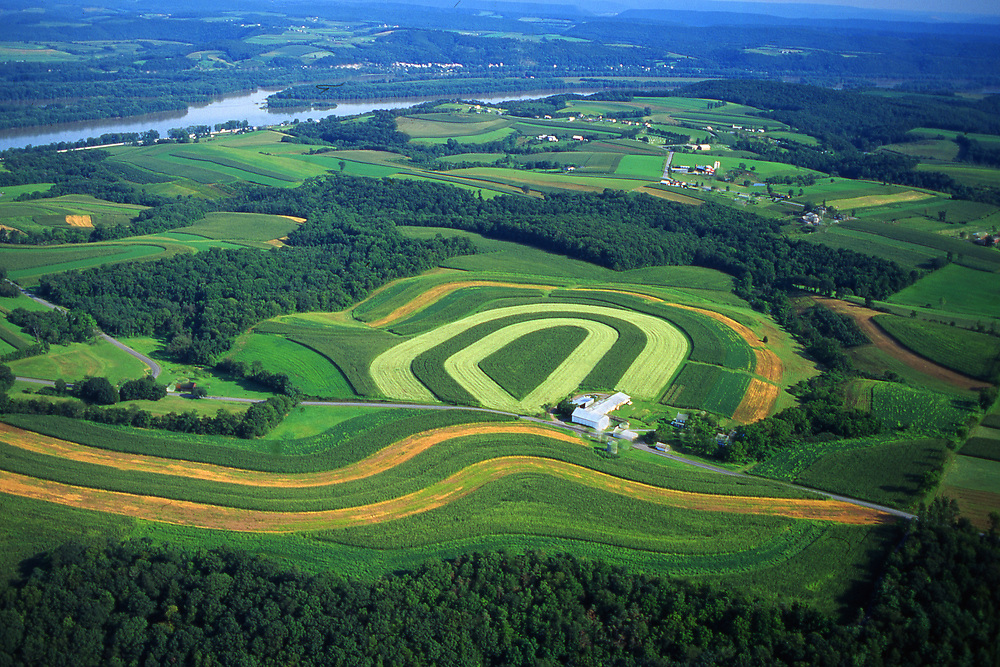 Aerial, farmlands, Northumberland Co. PA and Susquehanna River