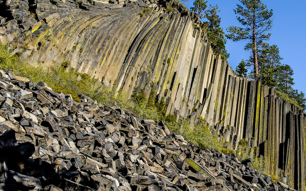 Amazing frozen lava formation. Devils Postpile National Monument, California.