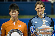 April 24, 2016 - Barcelona, Catalonia, Spain - <br /> <br /> KEI NISHIKORI of Japon and RAFAEL NADAL of Spain pose with their trophies after playing the  final of the 'Barcelona Open Banc Sabadell' 2016 Rafael Nadal won 6:4, 7:5 <br /> ©Exclusivepix Media