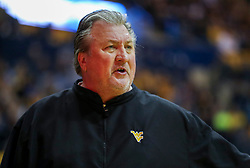Nov 9, 2018; Morgantown, WV, USA; West Virginia Mountaineers head coach Bob Huggins argues a call during the first half against the Buffalo Bulls at WVU Coliseum. Mandatory Credit: Ben Queen-USA TODAY Sports