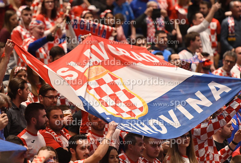 Fans of Croatia during the handball match between National teams of Serbia and Croatia in Group A of Men's EHF EURO 2020 on January 13, 2020 in Stadhalle Graz, Graz, Austria