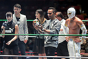 Oct. 28, 2015 - Mexico City, Mexico - <br /> <br /> Newly crowned World Champion F1 Driver LEWIS HAMILTON visits a Luche Libre wrestling match to celebrate Dia De Los Muertos in Mexico.<br /> ©Exclusivepix Media