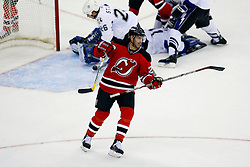 Nov 5, 2008; Newark, NJ, USA; New Jersey Devils left wing Jay Pandolfo (20) celebrates after scoring during the third period at the Prudential Center.