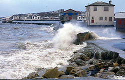 Spring tides breaking over sea defences; North Shields; Tyneside; NE England