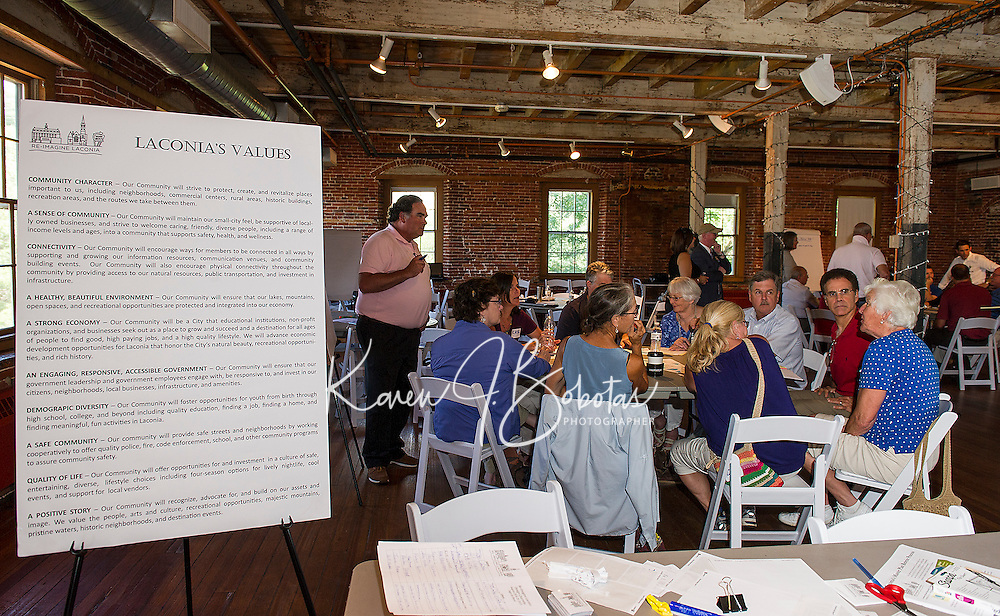 Moderator North Sturtevant begins discussion during Friday afternoon's Charrette with Re-Imagine Laconia at the Belknap Mill.  (Karen Bobotas/for the Laconia Daily Sun)