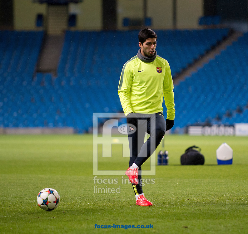 Luis Suarez of Barcelona pictured during Barcelona training at the Etihad Stadium, Manchester<br /> Picture by Russell Hart/Focus Images Ltd 07791 688 420<br /> 23/02/2015