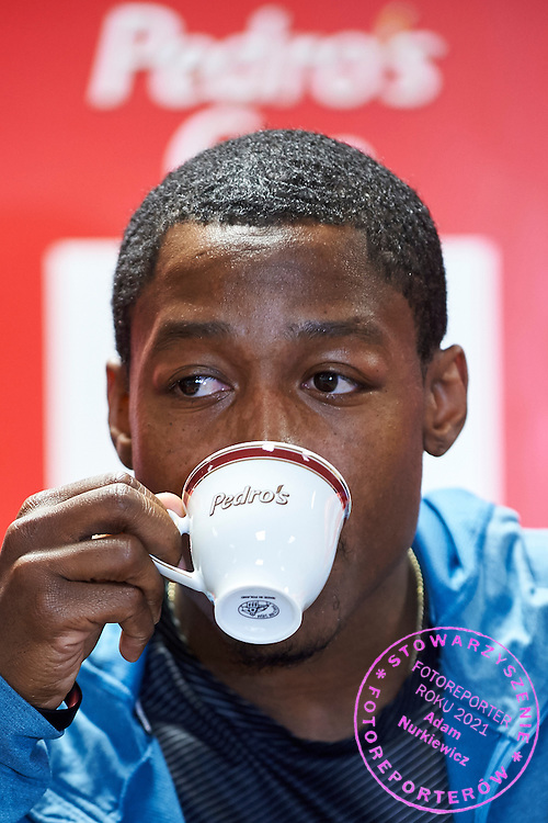 Michael &quot;Mike&quot; Rodgers from USA drinks coffee during press conference one day before athletics meeting Pedro's Cup at Atlas Arena in Lodz, Poland.<br /> Michael &quot;Mike&quot; Rodgers is an American sprinter who specializes in the 100 meters.<br /> <br /> Poland, Lodz, February 16, 2015<br /> <br /> Picture also available in RAW (NEF) or TIFF format on special request.<br /> <br /> For editorial use only. Any commercial or promotional use requires permission.<br /> <br /> Adam Nurkiewicz declares that he has no rights to the image of people at the photographs of his authorship.<br /> <br /> Mandatory credit:<br /> Photo by &copy; Adam Nurkiewicz / Mediasport