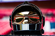 fire brigade helmet and mirror reflection  the FA Community Shield match between Arsenal and Chelsea at Wembley Stadium, London, England on 6 August 2017. Photo by Sebastian Frej.
