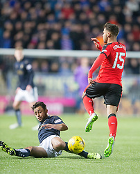 Falkirk's Tom Taiwo and Rangers Harry Forrester. <br /> Falkirk 3 v 2 Rangers, Scottish Championship game player at The Falkirk Stadium, 18/3/2016.