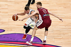 Luka Doncic of Slovenia vs Davis Bertans of Latvia during basketball match between National Teams of Slovenia and Latvia at Day 13 in Round of 16 of the FIBA EuroBasket 2017 at Sinan Erdem Dome in Istanbul, Turkey on September 12, 2017. Photo by Vid Ponikvar / Sportida