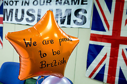 "© Licensed to London News Pictures. 08/04/2017. Birmingham, UK. Birmingham Mosque held a British tea party in answer to a EDL protesting taking part in the City on the same day. Pictured, balloons supporting the ""British"" theme. The tea party was being described as ""The best of British"". Photo credit: Dave Warren/LNP"