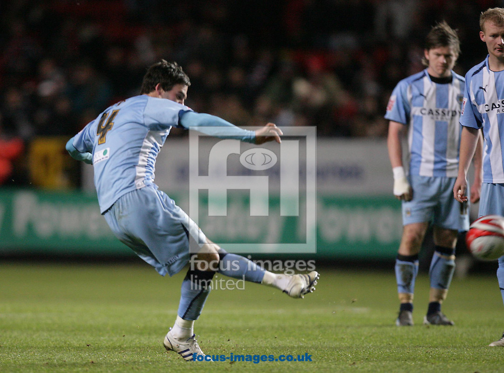 London - Tuesday December 8th, 2008: Daniel Fox of Coventry City scores his side's second goal during the Coca Cola Championship match at The Valley, London. (Pic by Mark Chapman/Focus Images)