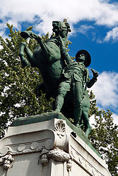 Statue commemorating the Canadian Mounted Rifles who fought in the South African War, Centre Ville, downtown Montreal, Quebec, Canada