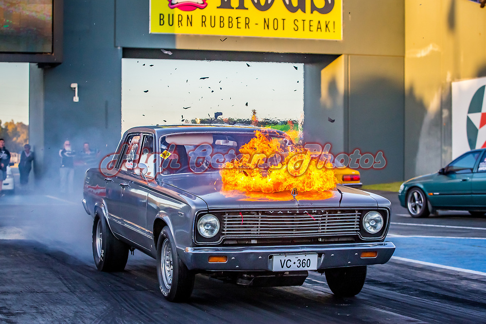 Stephen Hotchkin backfires the VC Chrysler Super Streeter at the Perth Motorplex Goldenstates Drag Racing Championships. Photo by Phil Luyer - High Octane Photos ©