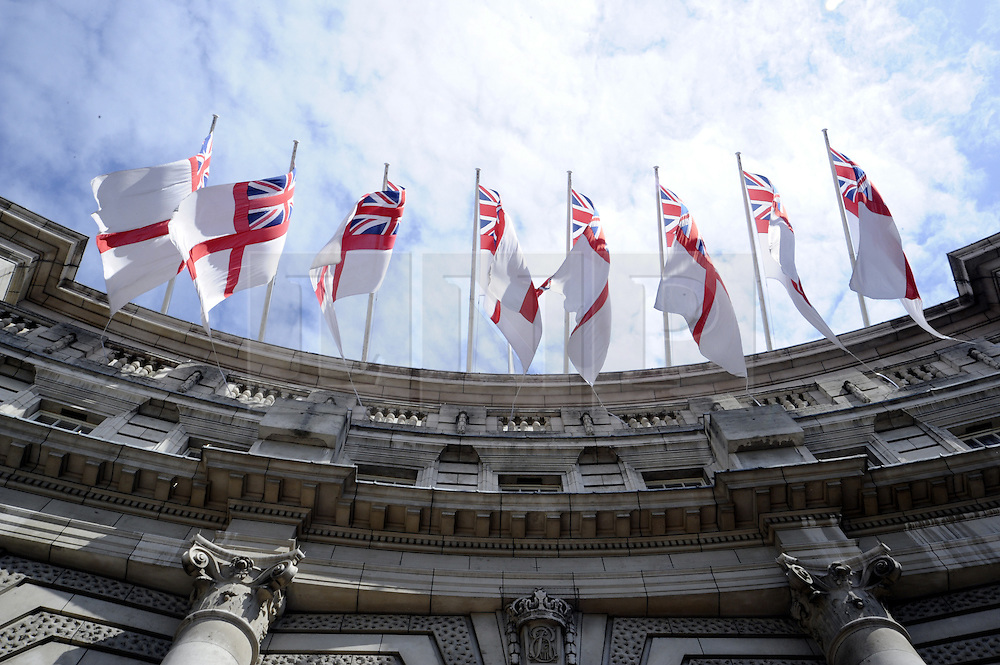 ©  licensed to London News Pictures. . UK.27/04/2011.Royal Wedding Preparations today in London with only two days to go before the big day..Flags flying on the Admiralty Arch ready for the Royal Wedding..Please see special instructions..Picture credit should read Grant Falvey/LNP......