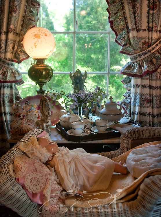 """A doll lies in a vintage baby crib in the """"Blue Room"""" at Rosewood Manor in Columbus, Miss. April 16, 2010. The 1835 Greek-Revival antebellum mansion was among nearly two dozen on tour during Columbus' annual Spring Pilgrimage. (Photo by Carmen K. Sisson/Cloudybright)"""