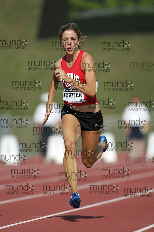 (Sherbrooke, Canada---21 July 2006) Caitlin Fortier competing in the qualifying rounds of the 100m at the 2006 Canadian Junior Track and Field Championships 21-23 July 2006 held in Sherbrooke Quebec. Additional information can be found www.athletics.ca Copyright 2006 Sean Burges / Mundo Sport Images, www.mundosportimages.com