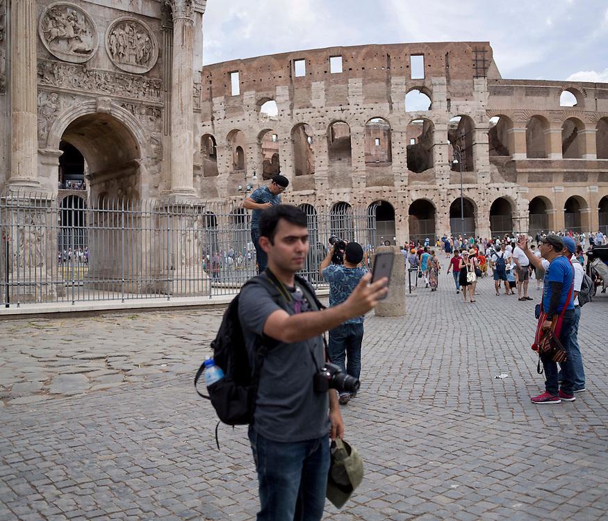 selfie in front of Arch of Constantine
