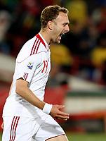Fotball<br /> VM 2010<br /> Danmark v Kamerun<br /> 19.06.2010<br /> Foto: Gepa/Digitalsport<br /> NORWAY ONLY<br /> <br /> Bild zeigt den Jubel von Dennis Rommedahl (DEN).