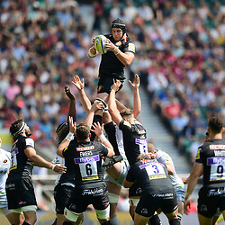 Mitch Lees of Exeter Chiefs wins the ball in the lineout during the Aviva Premiership Final match between Exeter Chiefs and Saracens at Twickenham Stadium on May 26, 2018 in London, England. (Photo by Alex Davidson)