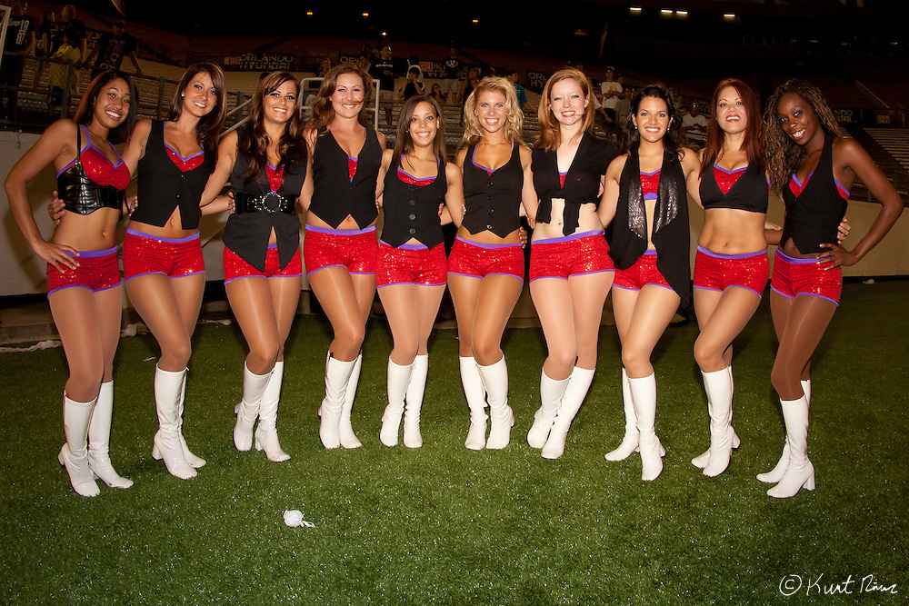 The Orlando City dancers at the Citrus Bowl in Orlando, FL on June 10 , 2011. The Antigua Barracudas defeated Orlando City 2-1. (Kurt Rivers)..