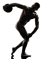 one  handsome naked muscular man exercising discobolus in silhouette studio on white background