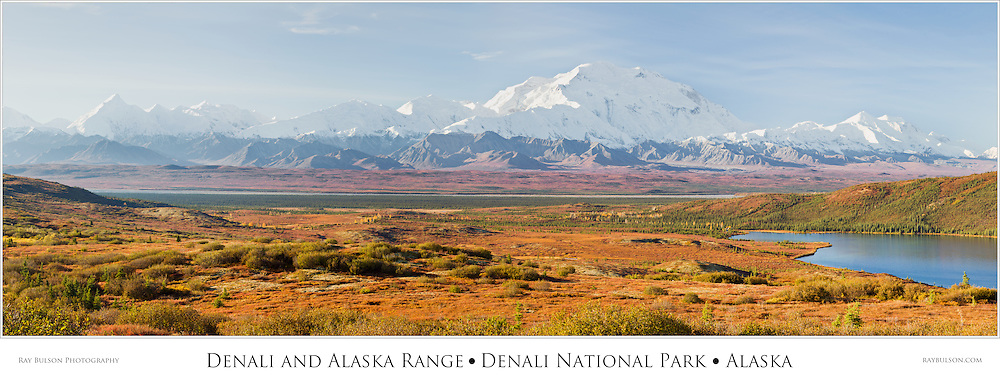 Composite panorama of Denali (Mt. McKinley) and the Alaska Range with Wonder Lake on this rare sunny day in Denali National Park in late fall in Southcentral Alaska. Morning.