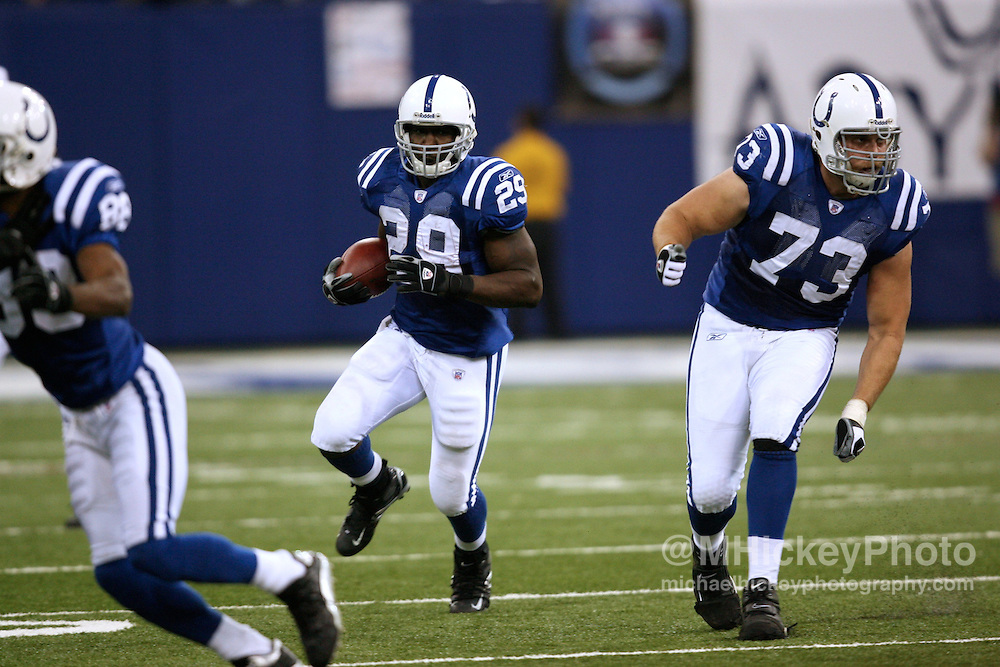 Indianapolis Colts running back Joseph Addai looks to break upfield during action against Buffalo at the RCA Dome in Indianapolis, Indiana on November 12, 2006.