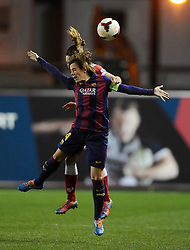FC Barcelona's Marta Unzue battles for the high ball with Bristol Academy Womens' Corinne Yorston  - Photo mandatory by-line: Joe Meredith/JMP - Mobile: 07966 386802 - 13/11/2014 - SPORT - Football - Bristol - Ashton Gate - Bristol Academy Womens FC v FC Barcelona - Women's Champions League