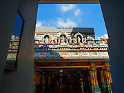 05 JUNE 2015 - KUALA LUMPUR, MALAYSIA:  The main entrance to Sri Mahamariamman Temple, the oldest functioning and most important Hindu temple in Malaysia. The principal deity in the temple is Mariamman,  a deity that is popularly worshipped by overseas Indians, especially Tamils, because she is looked upon as their protector during the sojourn to foreign lands. Mariamman is a manifestation of the goddess Parvati, an incarnation embodying Mother Earth with all her terrifying force. She is associated with disease and fever and protects her devotees from unholy or demonic events.    PHOTO BY JACK KURTZ